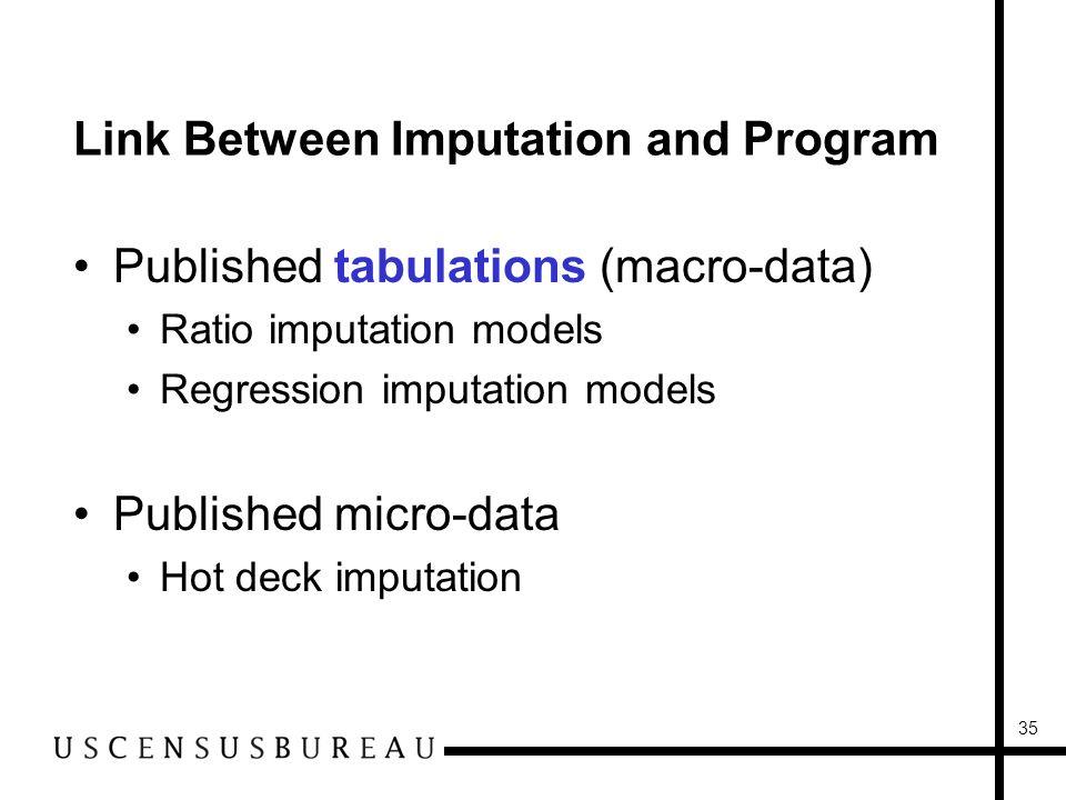 35 Link Between Imputation and Program Published tabulations (macro-data) Ratio imputation models Regression imputation models Published micro-data Hot deck imputation