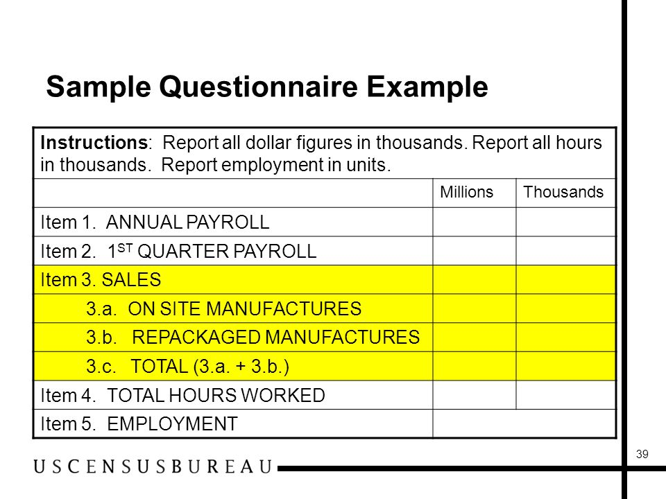 39 Sample Questionnaire Example Instructions: Report all dollar figures in thousands.