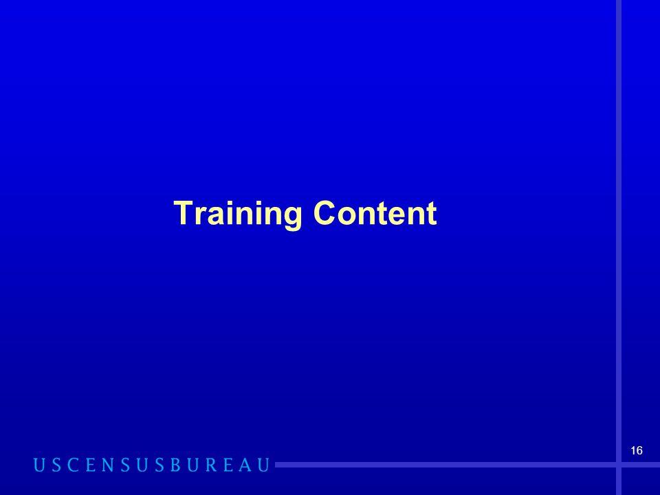 16 Training Content
