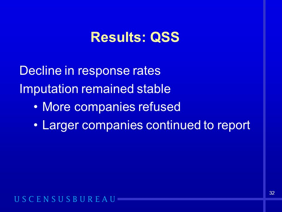 32 Results: QSS Decline in response rates Imputation remained stable More companies refused Larger companies continued to report