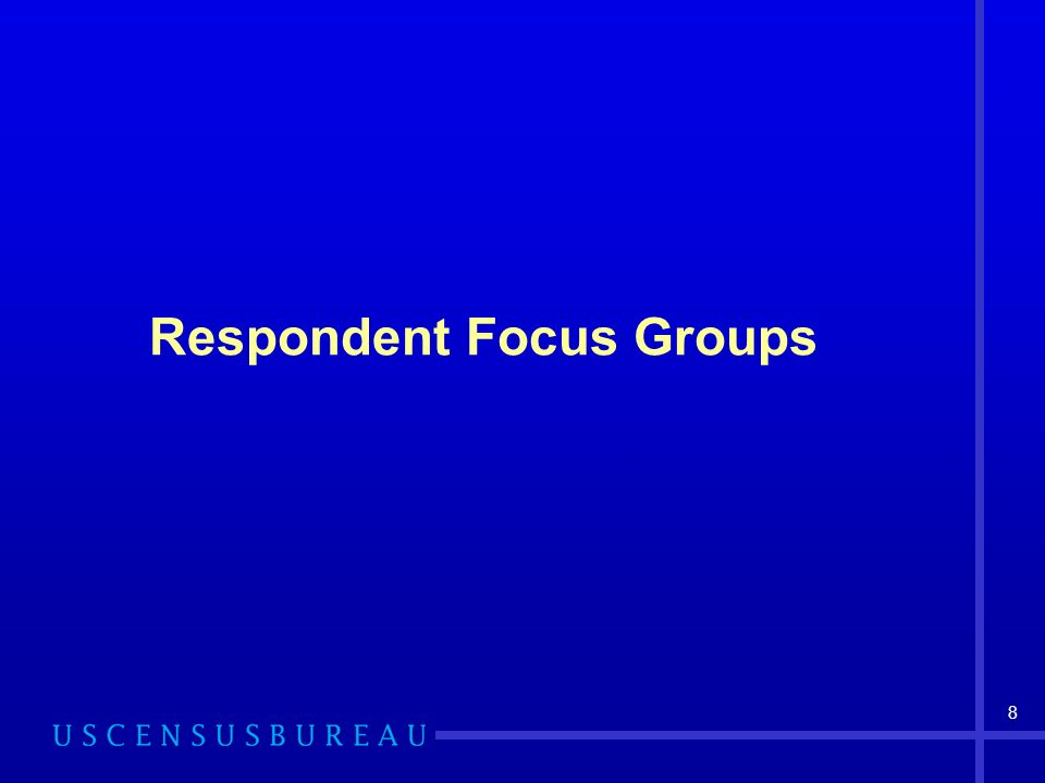 8 Respondent Focus Groups