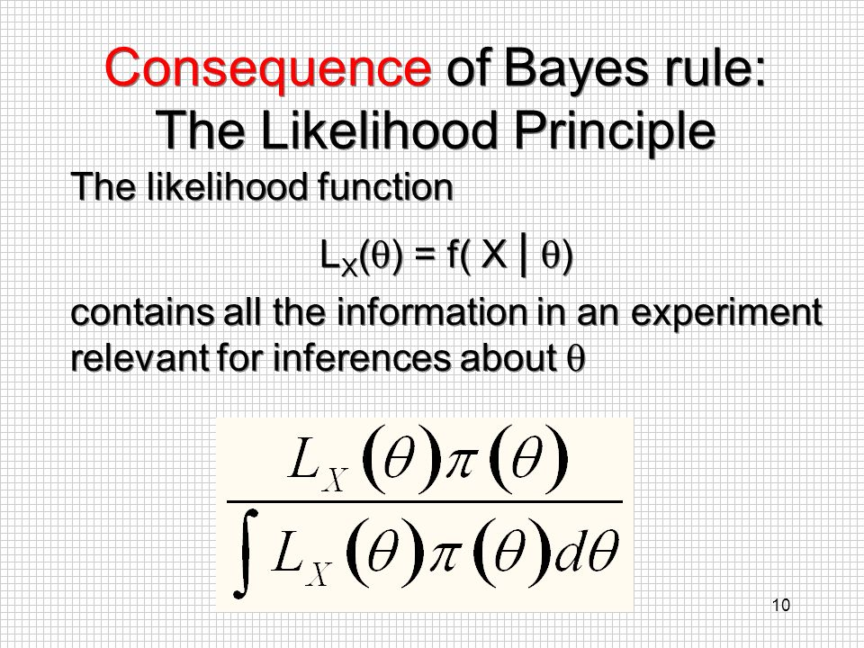 10 Consequence of Bayes rule: The Likelihood Principle The likelihood function L X ( ) = f( X | ) contains all the information in an experiment releva