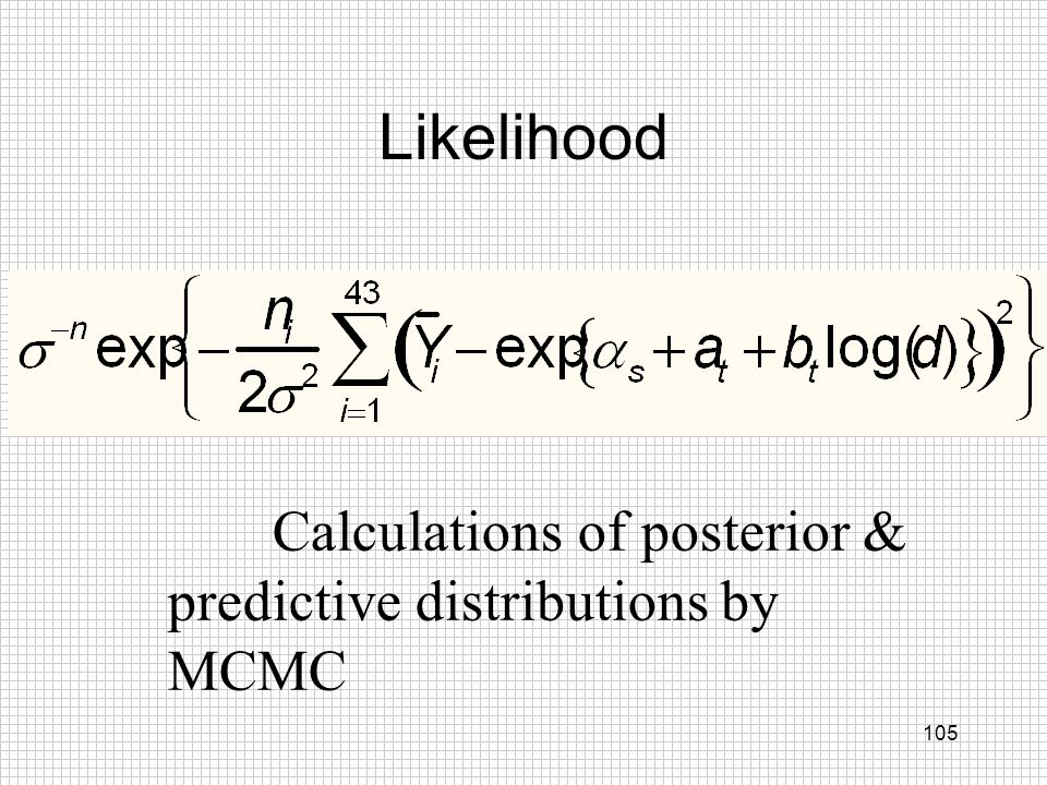 105 Likelihood Calculations of posterior & predictive distributions by MCMC