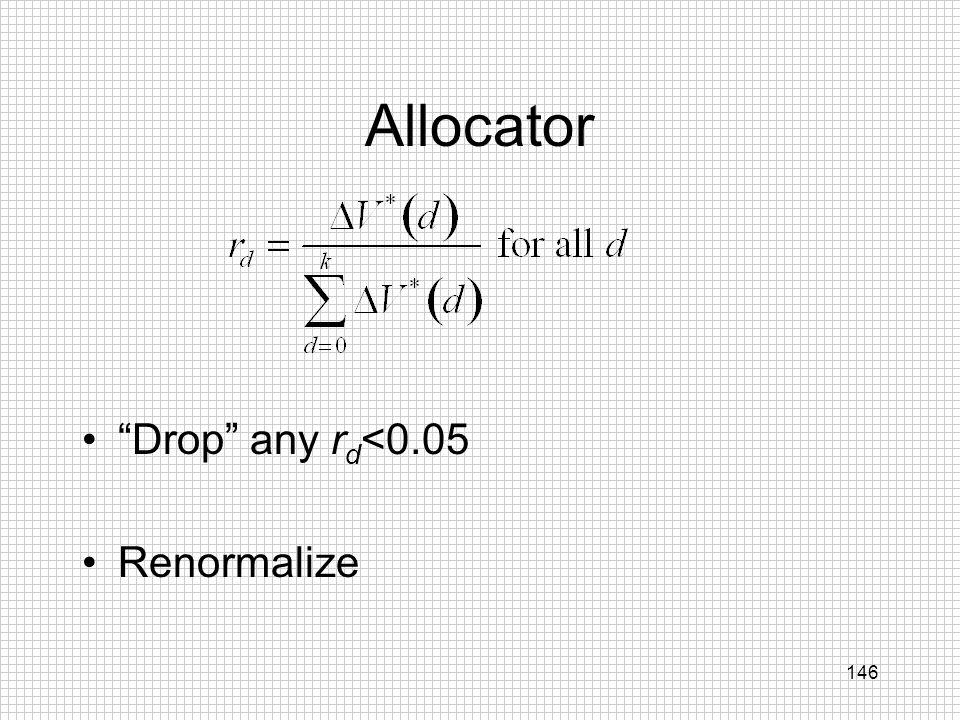 146 Allocator Drop any r d <0.05 Renormalize