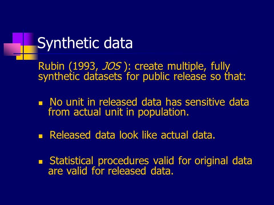 Generating fully synthetic data Randomly sample new units from sampling frame.