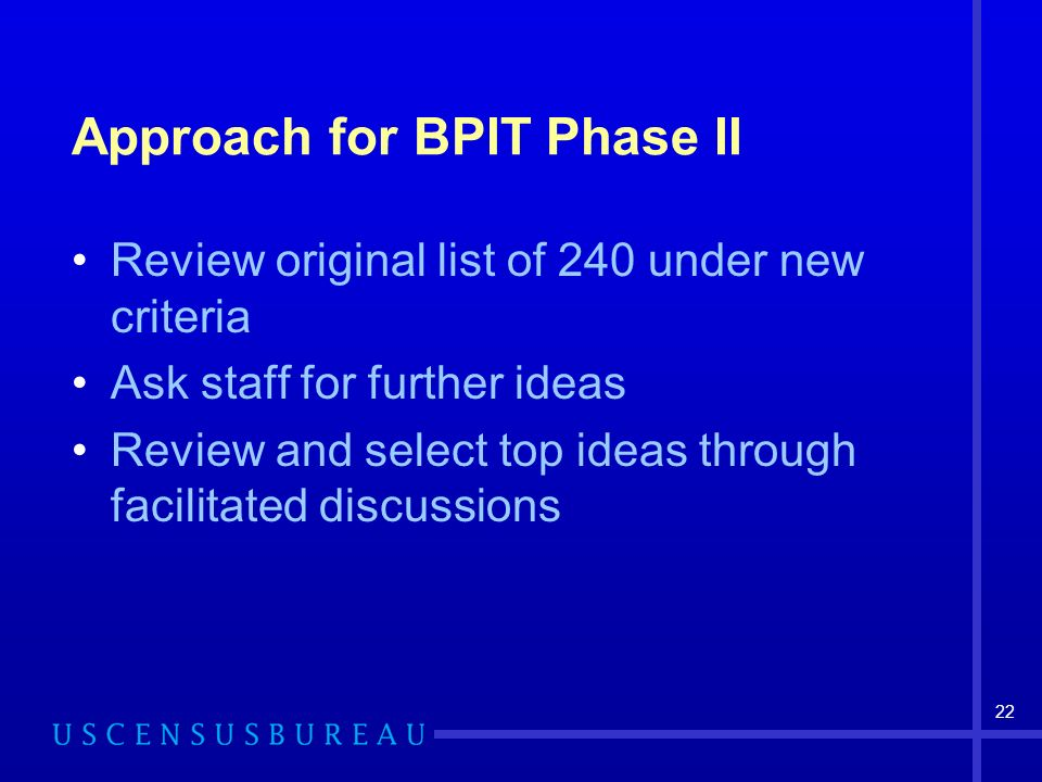 22 Approach for BPIT Phase II Review original list of 240 under new criteria Ask staff for further ideas Review and select top ideas through facilitated discussions