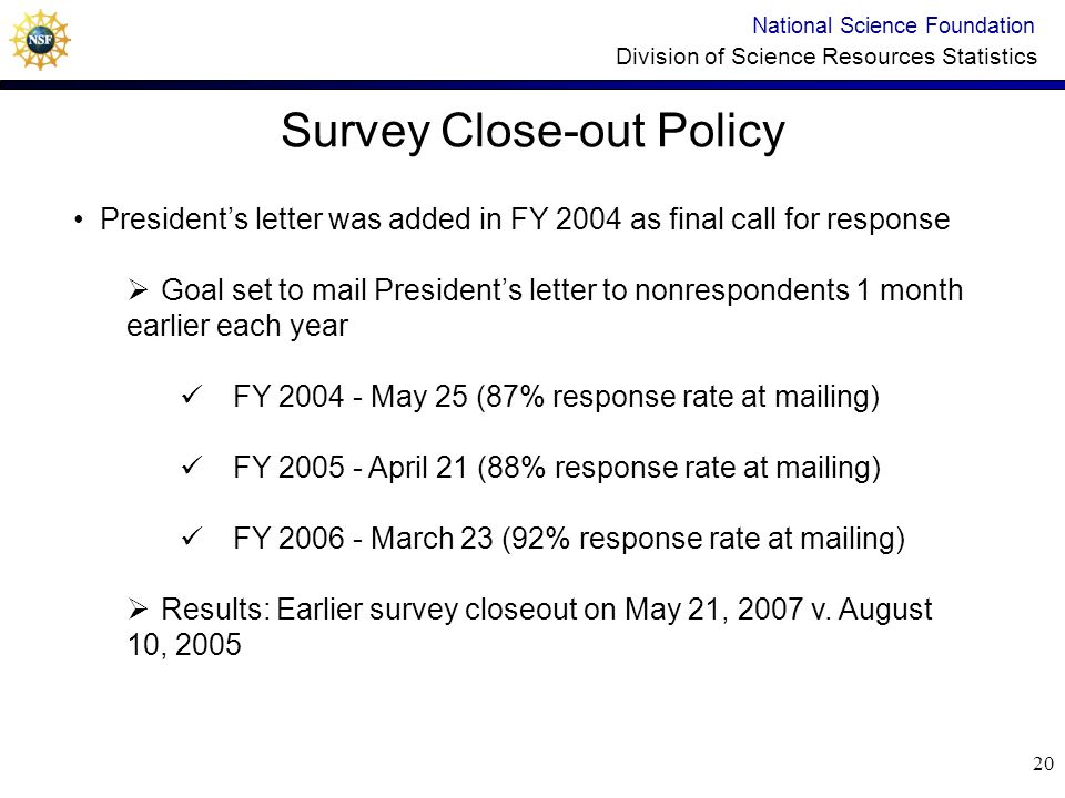 19 Extension Policy National Science Foundation Division of Science Resources Statistics Eliminated unlimited extensions Prior to FY 2005: Extension requests up to 36 weeks after survey due date FY 2005 and FY 2006: Requests for extensions restricted to shorter time frame (only granted for dates before Presidents letter) After presidents letter mail-out, respondents were told survey closes when target response rate reached and 2 week final warning would be given Results: Shortened post-deadline follow-up period