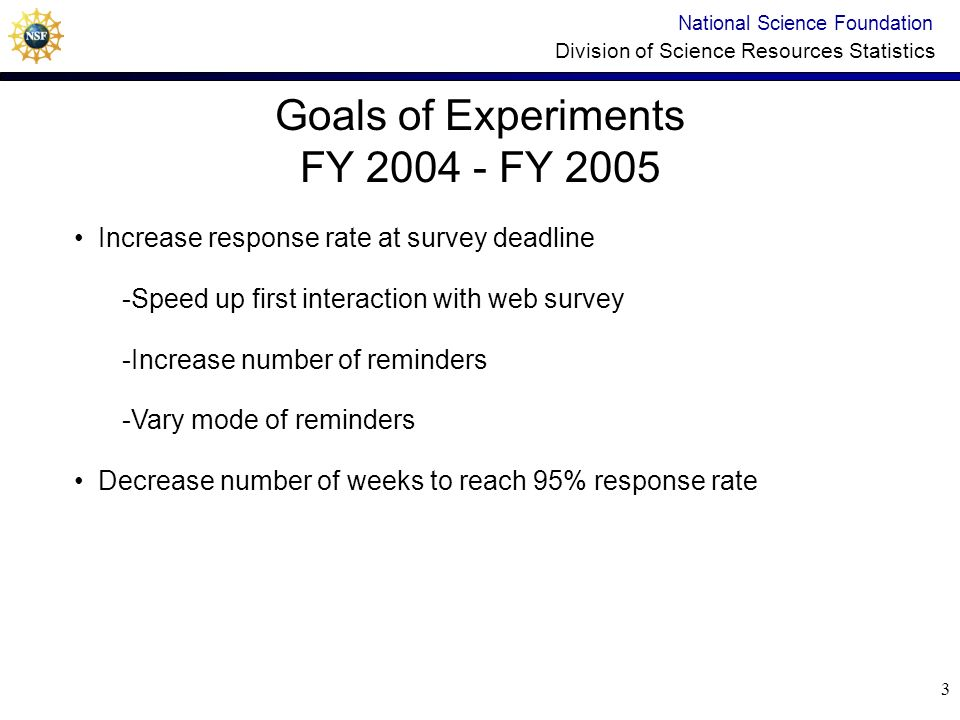 13 Experiment 3 Design National Science Foundation Division of Science Resources Statistics Follow-up Period Group 1 Low Tailoring Group 2 Medium Tailoring Group 3 High Tailoring Likely non- responders All others 0-11 weeks 10 e-mail or phone contacts Same messages 3 e-mails Varied messages Dependent on past behavior Tailored messages 2 e-mails Same messages 12-24 weeks 12 contacts; alternating e-mail or phone weekly 4 contacts spaced 3 to 4 weeks; e- mail, phone, letter, and final phone call 6 contacts; alternating e- mail and phone every two or three weeks Same messagesVaried messages and senders Same messages