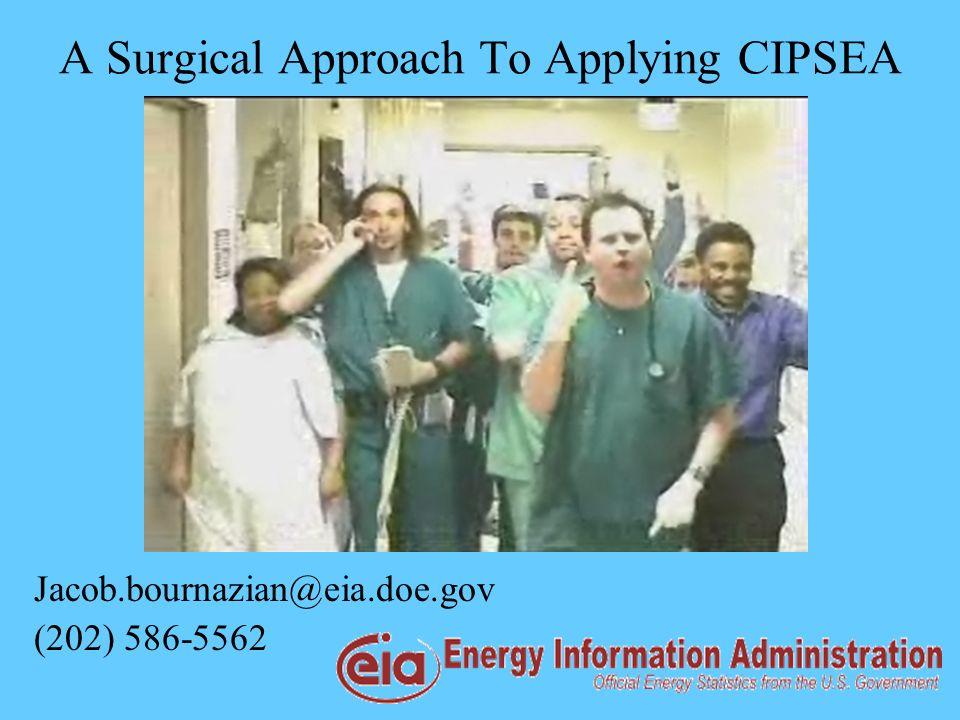 A Surgical Approach To Applying CIPSEA Jacob.bournazian@eia.doe.gov (202) 586-5562