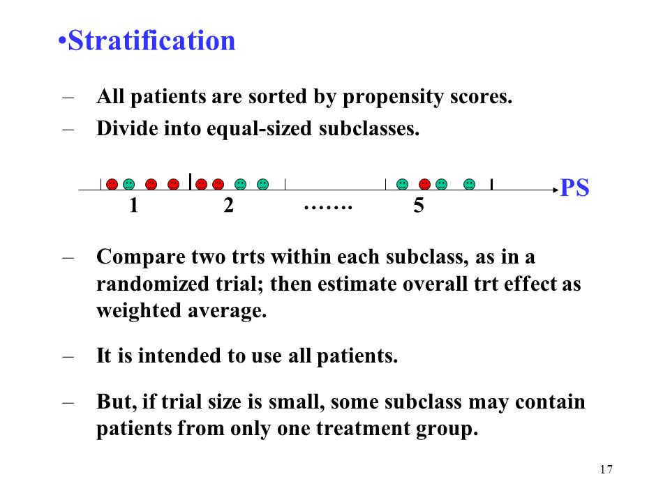 17 Stratification –All patients are sorted by propensity scores. –Divide into equal-sized subclasses. –Compare two trts within each subclass, as in a