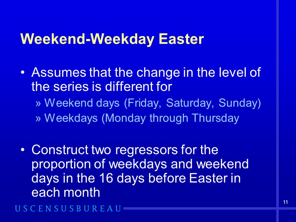 11 Weekend-Weekday Easter Assumes that the change in the level of the series is different for »Weekend days (Friday, Saturday, Sunday) »Weekdays (Monday through Thursday Construct two regressors for the proportion of weekdays and weekend days in the 16 days before Easter in each month