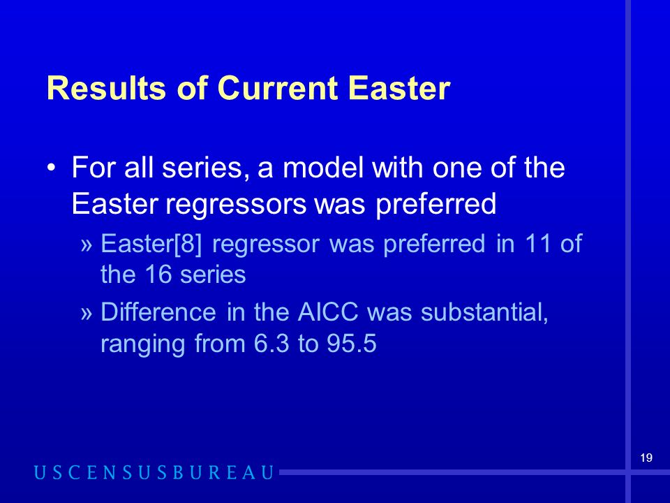 19 Results of Current Easter For all series, a model with one of the Easter regressors was preferred »Easter[8] regressor was preferred in 11 of the 16 series »Difference in the AICC was substantial, ranging from 6.3 to 95.5