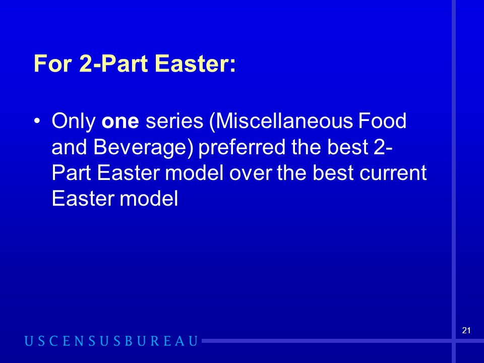 21 For 2-Part Easter: Only one series (Miscellaneous Food and Beverage) preferred the best 2- Part Easter model over the best current Easter model