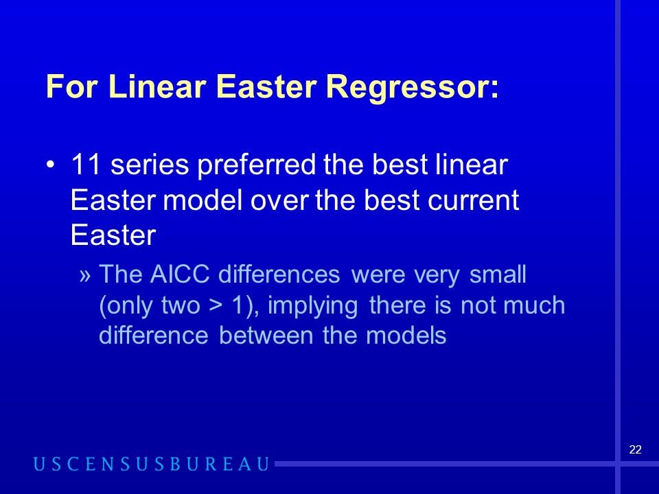 22 For Linear Easter Regressor: 11 series preferred the best linear Easter model over the best current Easter »The AICC differences were very small (only two > 1), implying there is not much difference between the models