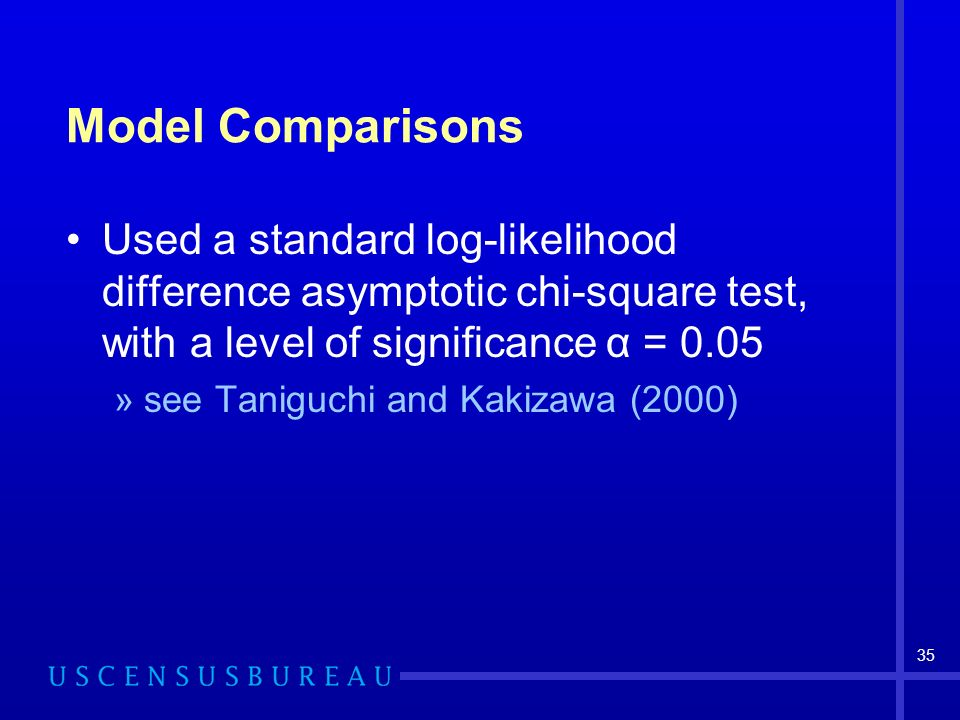 35 Model Comparisons Used a standard log-likelihood difference asymptotic chi-square test, with a level of significance α = 0.05 »see Taniguchi and Kakizawa (2000)