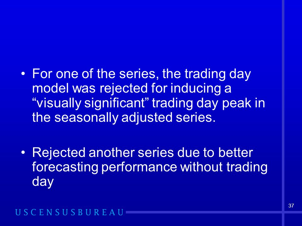 37 For one of the series, the trading day model was rejected for inducing a visually significant trading day peak in the seasonally adjusted series.