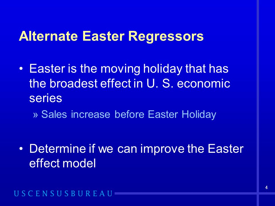 4 Alternate Easter Regressors Easter is the moving holiday that has the broadest effect in U.