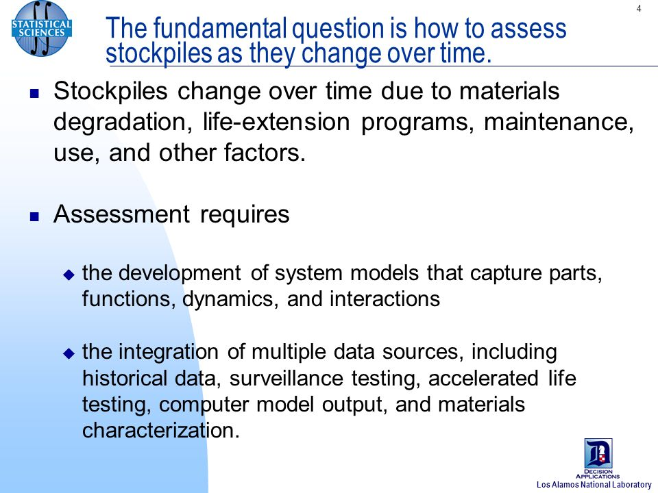 Los Alamos National Laboratory 4 The fundamental question is how to assess stockpiles as they change over time.