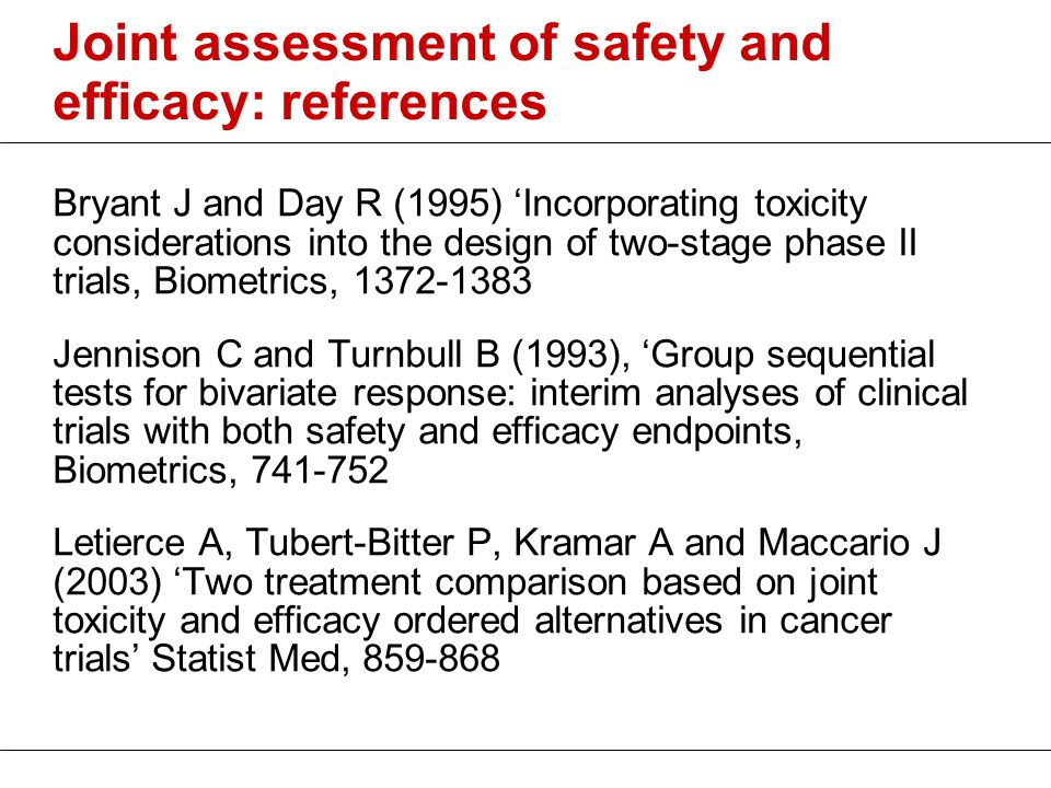 Joint assessment of safety and efficacy: references Bryant J and Day R (1995) Incorporating toxicity considerations into the design of two-stage phase