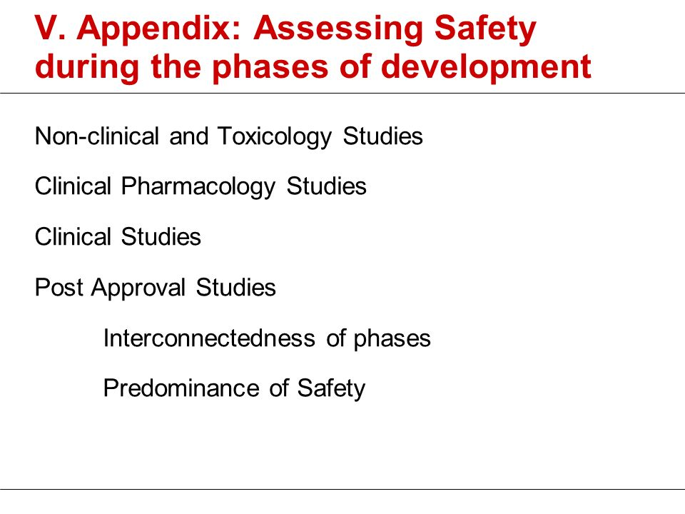 V. Appendix: Assessing Safety during the phases of development Non-clinical and Toxicology Studies Clinical Pharmacology Studies Clinical Studies Post