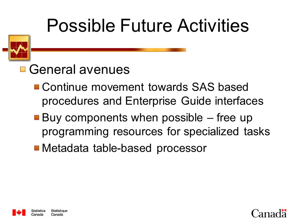 Possible Future Activities General avenues Continue movement towards SAS based procedures and Enterprise Guide interfaces Buy components when possible – free up programming resources for specialized tasks Metadata table-based processor