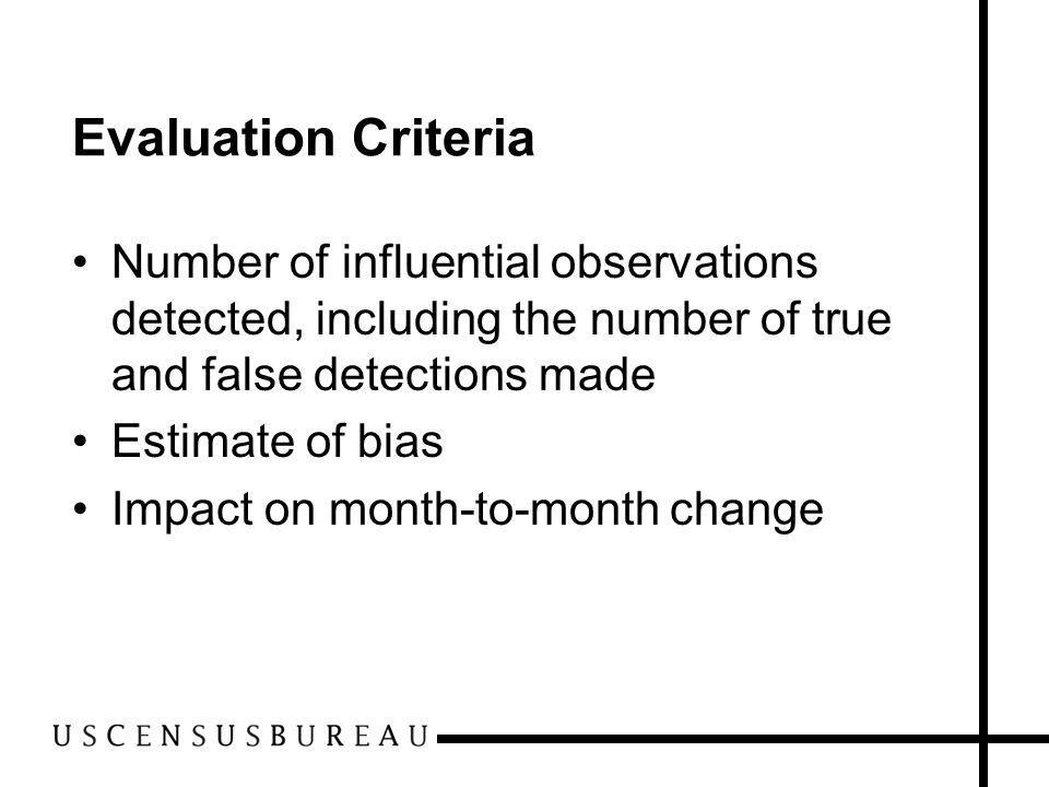 Evaluation Criteria Number of influential observations detected, including the number of true and false detections made Estimate of bias Impact on mon