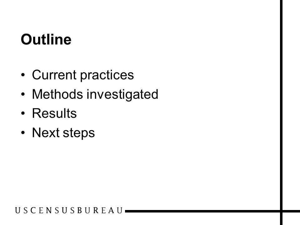 Outline Current practices Methods investigated Results Next steps