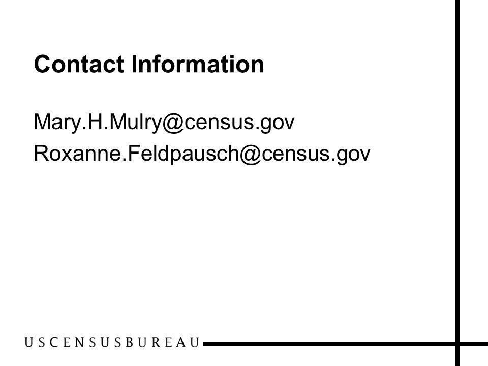 Contact Information Mary.H.Mulry@census.gov Roxanne.Feldpausch@census.gov
