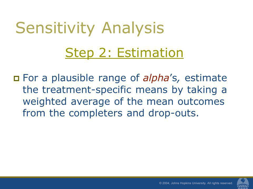 Step 2: Estimation For a plausible range of alphas, estimate the treatment-specific means by taking a weighted average of the mean outcomes from the c
