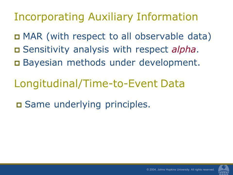 Incorporating Auxiliary Information MAR (with respect to all observable data) Sensitivity analysis with respect alpha. Bayesian methods under developm