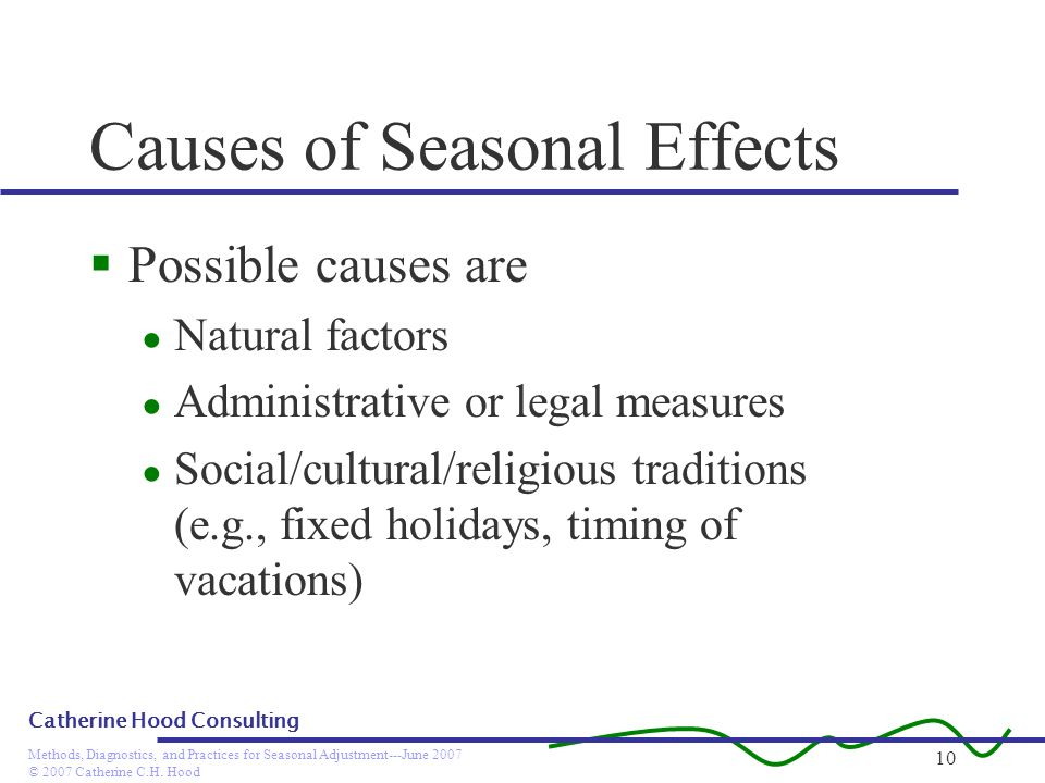 © 2007 Catherine C.H. Hood Methods, Diagnostics, and Practices for Seasonal Adjustment---June 2007 Catherine Hood Consulting 10 Causes of Seasonal Eff