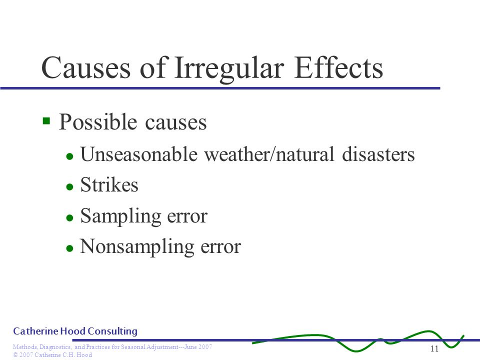 © 2007 Catherine C.H. Hood Methods, Diagnostics, and Practices for Seasonal Adjustment---June 2007 Catherine Hood Consulting 11 Causes of Irregular Ef