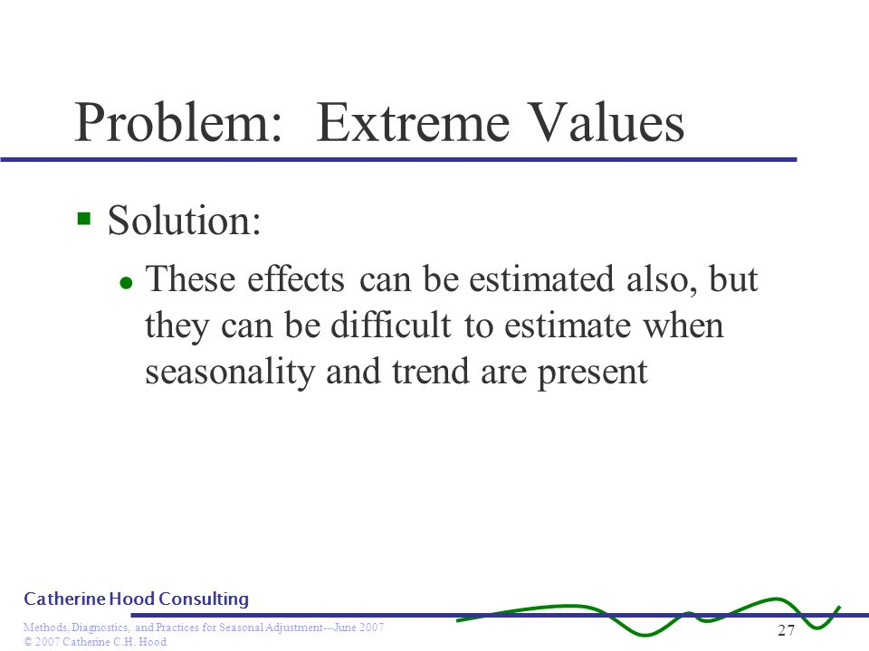 © 2007 Catherine C.H. Hood Methods, Diagnostics, and Practices for Seasonal Adjustment---June 2007 Catherine Hood Consulting 27 Problem: Extreme Value