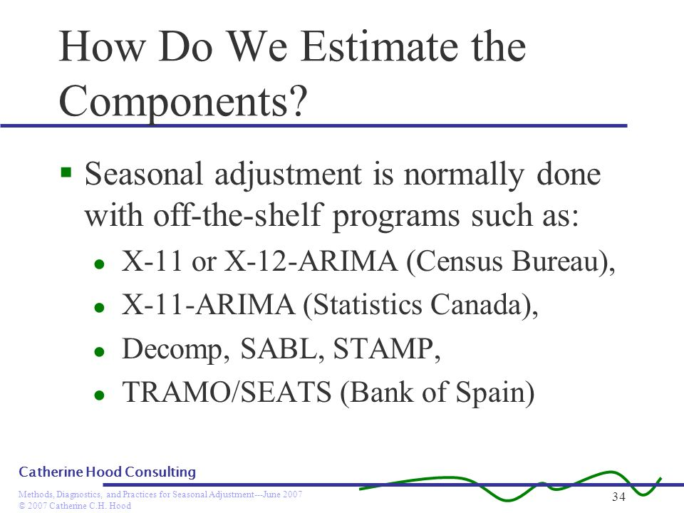© 2007 Catherine C.H. Hood Methods, Diagnostics, and Practices for Seasonal Adjustment---June 2007 Catherine Hood Consulting 34 How Do We Estimate the