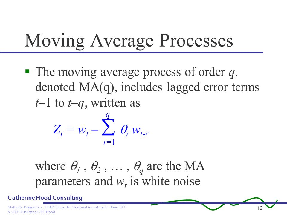 © 2007 Catherine C.H. Hood Methods, Diagnostics, and Practices for Seasonal Adjustment---June 2007 Catherine Hood Consulting 42 Moving Average Process
