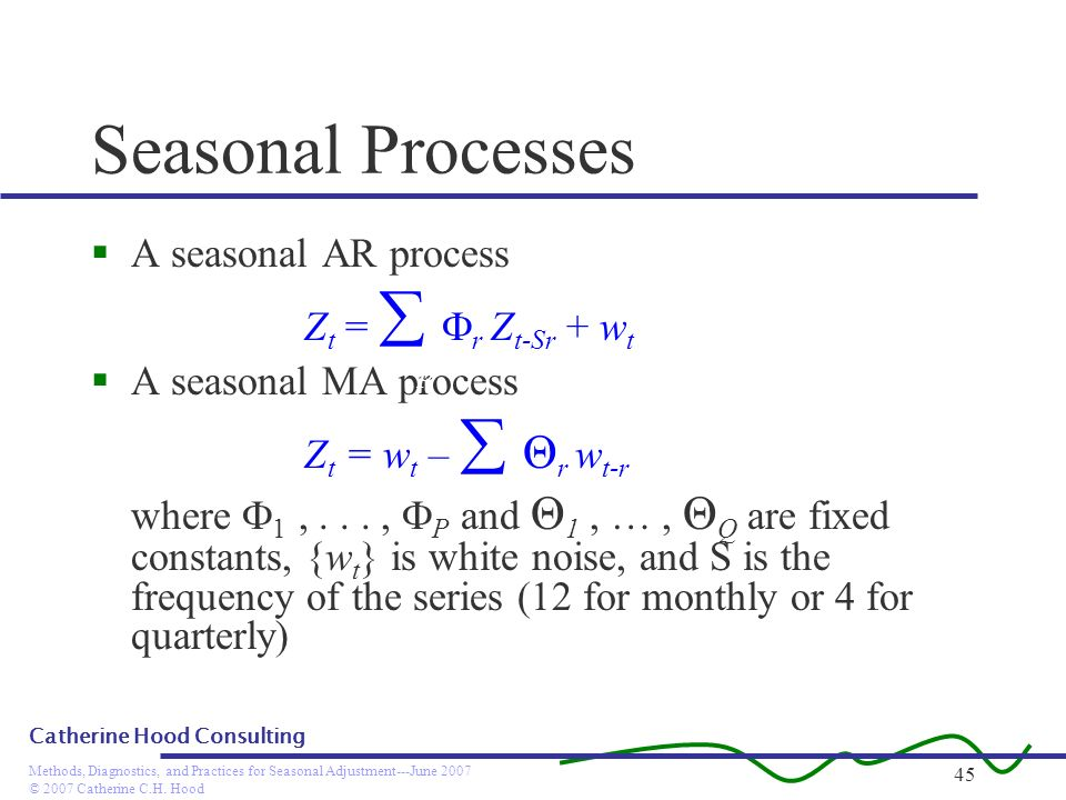 © 2007 Catherine C.H. Hood Methods, Diagnostics, and Practices for Seasonal Adjustment---June 2007 Catherine Hood Consulting 45 Seasonal Processes A s