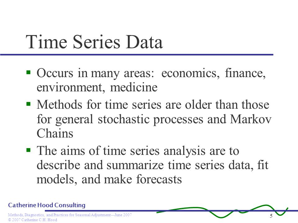© 2007 Catherine C.H. Hood Methods, Diagnostics, and Practices for Seasonal Adjustment---June 2007 Catherine Hood Consulting 5 Time Series Data Occurs
