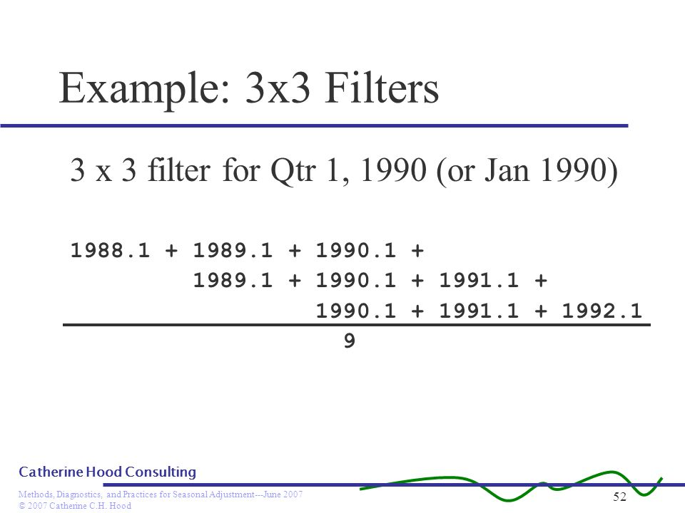 © 2007 Catherine C.H. Hood Methods, Diagnostics, and Practices for Seasonal Adjustment---June 2007 Catherine Hood Consulting 52 Example: 3x3 Filters 3