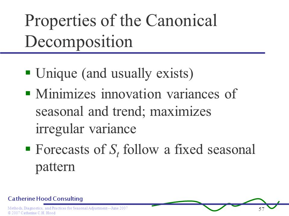 © 2007 Catherine C.H. Hood Methods, Diagnostics, and Practices for Seasonal Adjustment---June 2007 Catherine Hood Consulting 57 Properties of the Cano