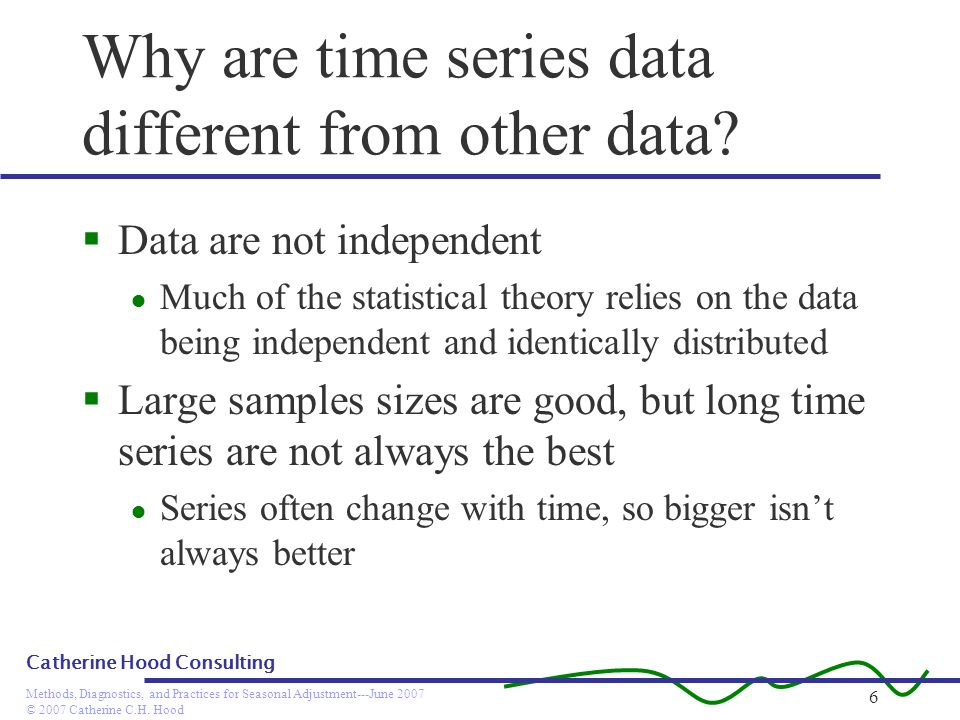 © 2007 Catherine C.H. Hood Methods, Diagnostics, and Practices for Seasonal Adjustment---June 2007 Catherine Hood Consulting 6 Why are time series dat