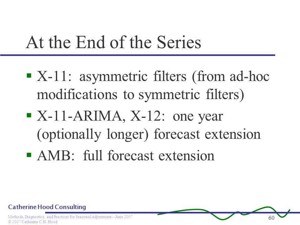 © 2007 Catherine C.H. Hood Methods, Diagnostics, and Practices for Seasonal Adjustment---June 2007 Catherine Hood Consulting 60 At the End of the Seri