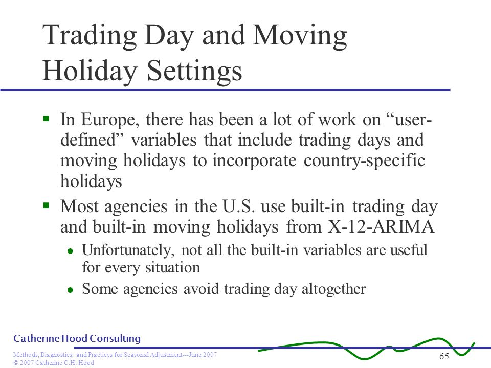 © 2007 Catherine C.H. Hood Methods, Diagnostics, and Practices for Seasonal Adjustment---June 2007 Catherine Hood Consulting 65 Trading Day and Moving