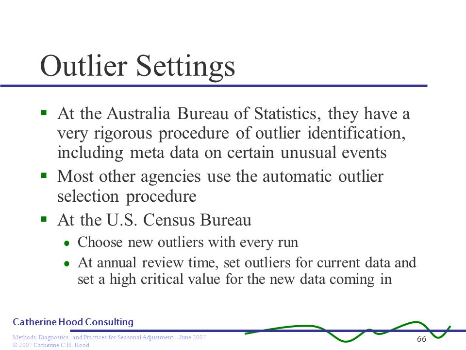 © 2007 Catherine C.H. Hood Methods, Diagnostics, and Practices for Seasonal Adjustment---June 2007 Catherine Hood Consulting 66 Outlier Settings At th