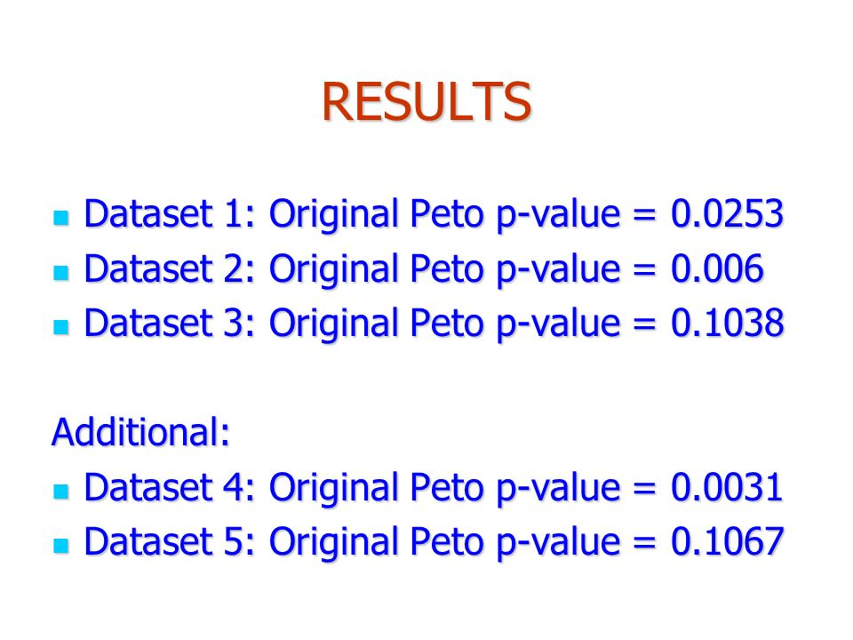 RESULTS Dataset 1: Original Peto p-value = Dataset 1: Original Peto p-value = Dataset 2: Original Peto p-value = Dataset 2: Original Peto p-value = Dataset 3: Original Peto p-value = Dataset 3: Original Peto p-value = Additional: Dataset 4: Original Peto p-value = Dataset 4: Original Peto p-value = Dataset 5: Original Peto p-value = Dataset 5: Original Peto p-value =