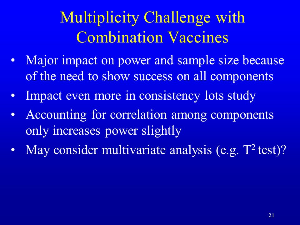 21 Multiplicity Challenge with Combination Vaccines Major impact on power and sample size because of the need to show success on all components Impact