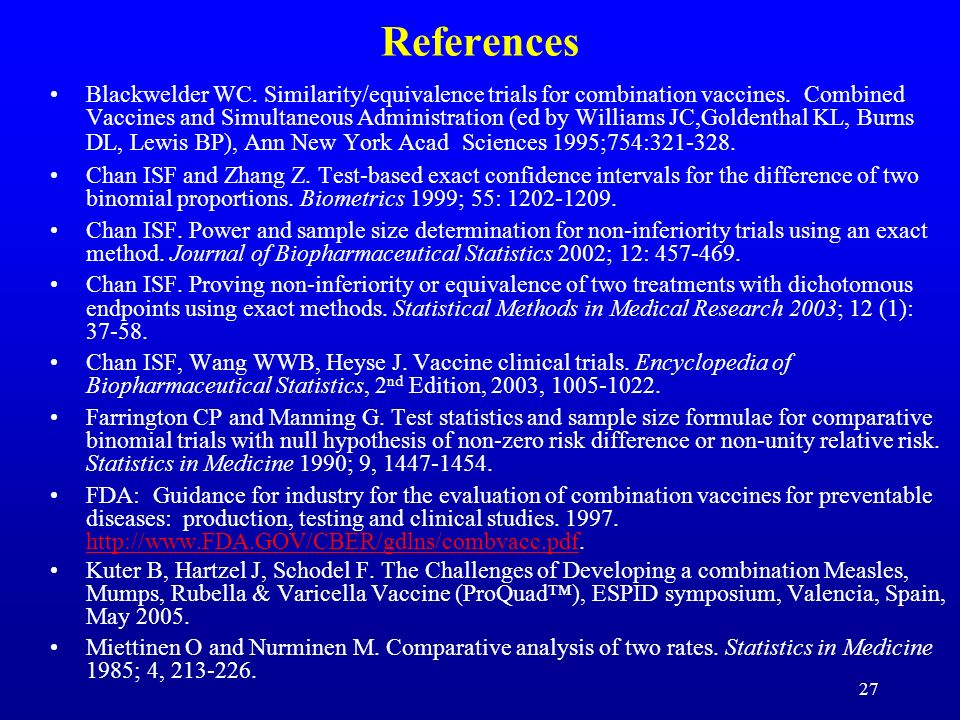27 References Blackwelder WC. Similarity/equivalence trials for combination vaccines. Combined Vaccines and Simultaneous Administration (ed by William