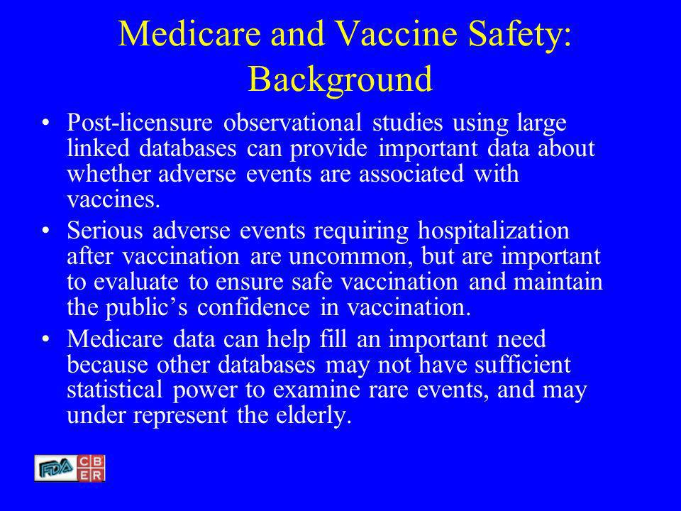 Medicare and Vaccine Safety: Background Post-licensure observational studies using large linked databases can provide important data about whether adverse events are associated with vaccines.