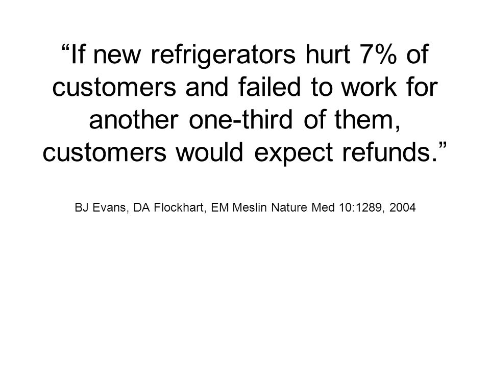 If new refrigerators hurt 7% of customers and failed to work for another one-third of them, customers would expect refunds.