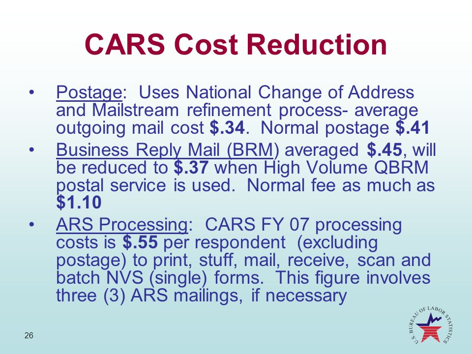 26 CARS Cost Reduction Postage: Uses National Change of Address and Mailstream refinement process- average outgoing mail cost $.34. Normal postage $.4