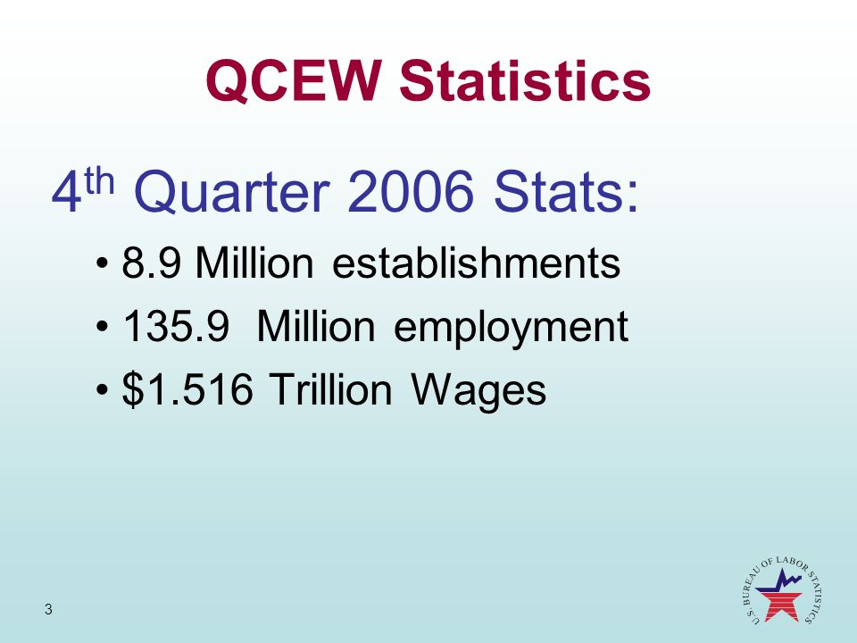 3 QCEW Statistics 4 th Quarter 2006 Stats: 8.9 Million establishments 135.9 Million employment $1.516 Trillion Wages